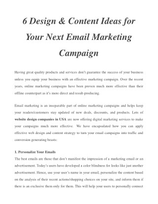 6 Design & Content Ideas for Your Next Email Marketing Campaign