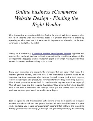 Online business eCommerce Website Design - Finding the Right Vendor