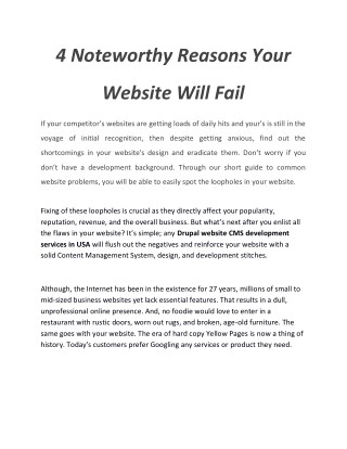 4 Noteworthy Reasons Your Website Will Fail