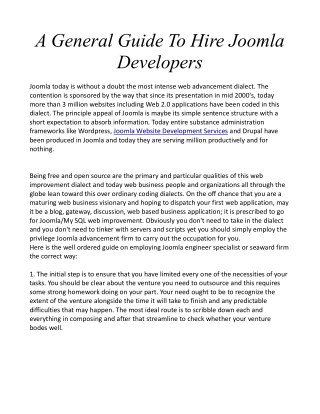 A General Guide To Hire Joomla Developers