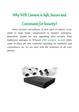 Why NVR Camera is Safe, Secure and Convenient For Security?