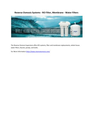 Reverse Osmosis Systems - RO Filter, Membrane - Water Filters