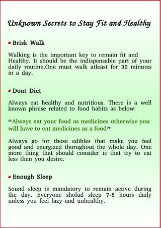 Unknown Secrets to Stay Fit and Healthy