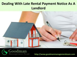 Dealing With Late Rental Payment Notice As A Landlord