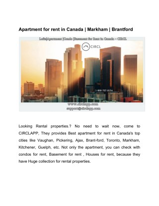 Apartment for rent in Canada | Markham | Brantford