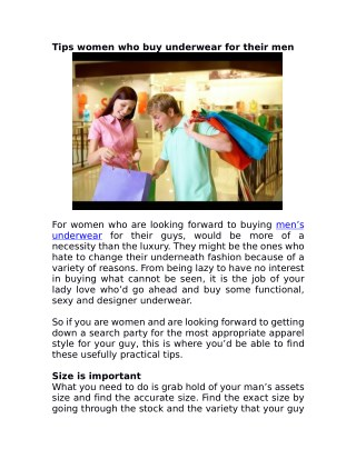 Tips women who buy underwear for their men