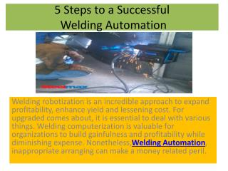5 Steps to a Successful Welding Automation