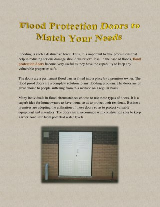 Flood Protection Doors to Match Your Needs