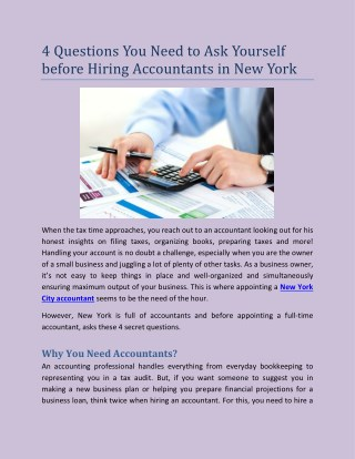 4 Questions You Need to Ask Yourself before Hiring Accountants in New York