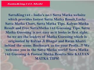 Satta King143 | Fastest Satta Matka Result