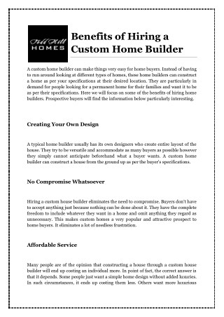 Benefits of Hiring a Custom Home Builder