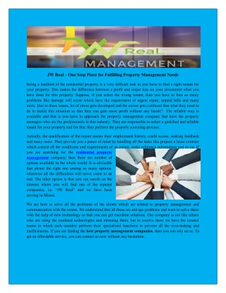 Selecting rental Management Companies in miami