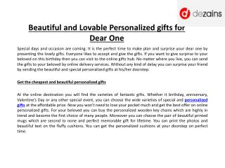Beautiful and Lovable Personalized Gifts for Dear One