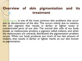skin pigmentation and its treatment