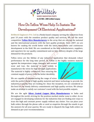 How Do Teflon Wires Help To Sustain The Development Of Electrical Applications?