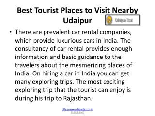 Best Tourist Places To Visit Nearby Udaipur