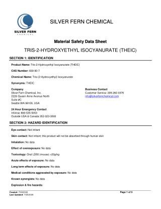 TRIS-2-Hydroxyethyl Isocyanurate Safety Data Sheet