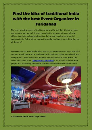 Find the bliss of traditional India with the best Event Organizer in Faridabad