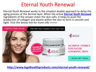 Eternal Youth Renewal Reviews, Price and Free Trial