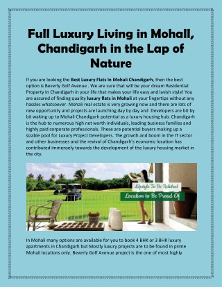 Full Luxury Living in Mohall, Chandigarh in the Lap of Nature