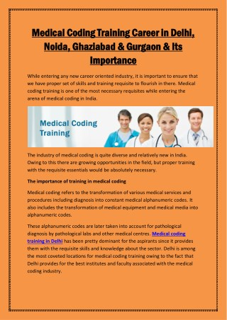 Medical Coding Training Career in Delhi, Noida, Ghaziabad & Gurgaon & Its Importance