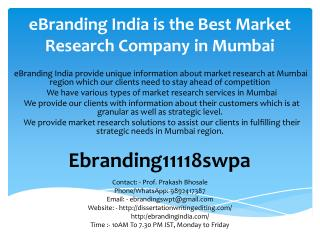 eBranding India is the Best Market Research Company in Mumbai