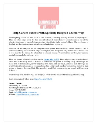 Help Cancer Patients with Specially Designed Chemo Wigs