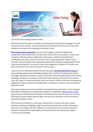 Top 10 SAP online Training institutes in India