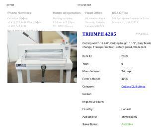 Buy Used TRIUMPH 4205 Machine