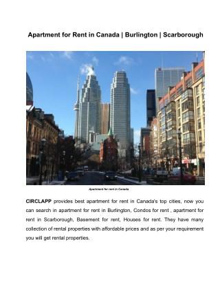 Apartment for Rent in Canada | Burlington | Scarborough