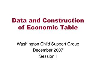 Data and Construction of Economic Table
