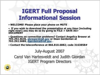 IGERT Full Proposal Informational Session