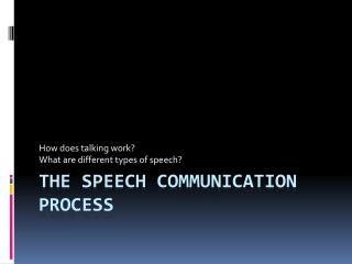 The Speech Communication Process
