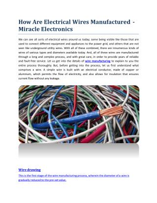 How Are Electrical Wires Manufactured? Miracle Electronics
