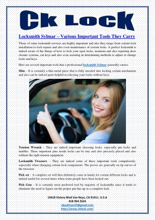 Locksmith Sylmar – Various Important Tools They Carry