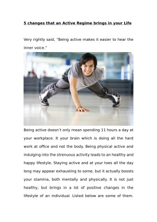 5 changes that an Active Regime brings in your Life