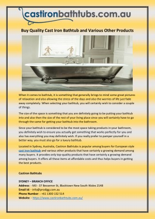 Buy Quality Cast Iron Bathtub and Various Other Products