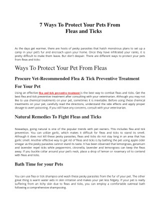 7 Ways To Protect Your Pets From Fleas and Ticks