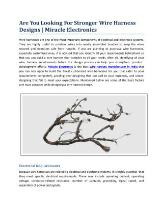 Are You Looking For Stronger Wire Harness Designs | Miracle Electronics