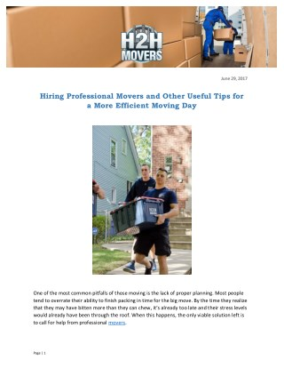 Hiring professional movers and other useful tips for a more efficient moving day