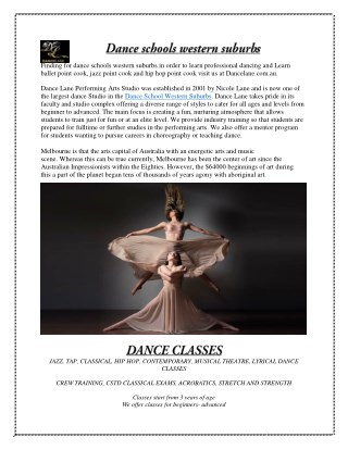 Dance Schools Western Suburbs - Dancelane.com.au