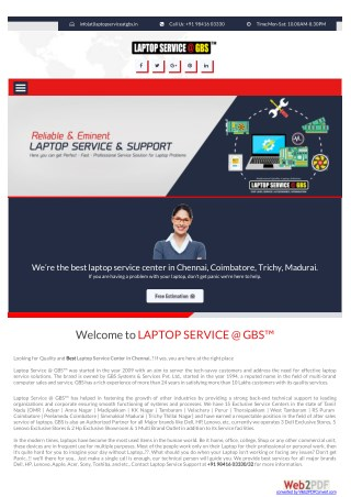 Laptop Service Center In Chennai - Laptop Services