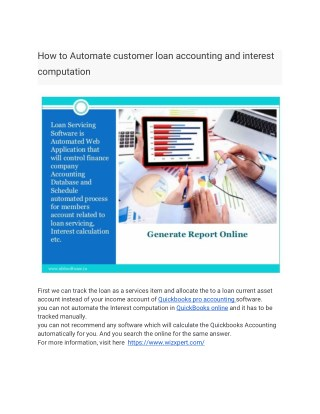 How to Automate customer loan accounting and interest computation