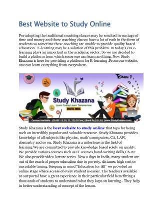 Best Website to Study Online