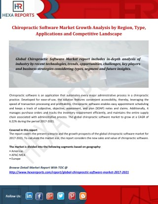 Chiropractic Software Market 2021 Growth Opportunities, Analysis and Forecasts Report
