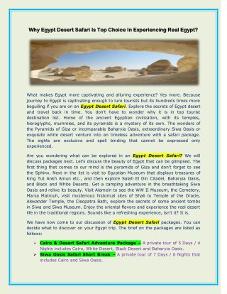 Why Egypt Desert Safari Is Top Choice In Experiencing Real Egypt?