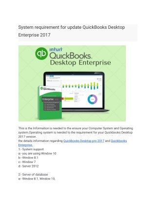 System requirement for update QuickBooks Desktop Enterprise 2017