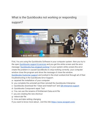 What is the Quickbooks not working or responding support?