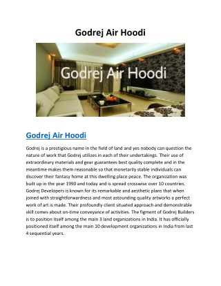 Godrej Air Hoodi | Specification | Location | Pre Launch | Bangalore