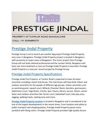 Prestige Jindal | Bangalore | Pre Launch | Price | Location | Contact | Reviews